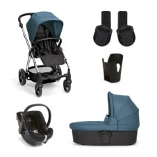 Sola² - Petrol Blue 5 Piece - Pushchair + Carrycot + Cup Holder + Adaptors + Car Seat