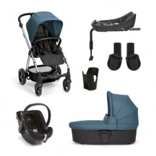 SolaŒ² - Petrol Blue 6 Piece - Pushchair + Carrycot + Cup Holder + Adaptors + Car Seat + Isofix Base