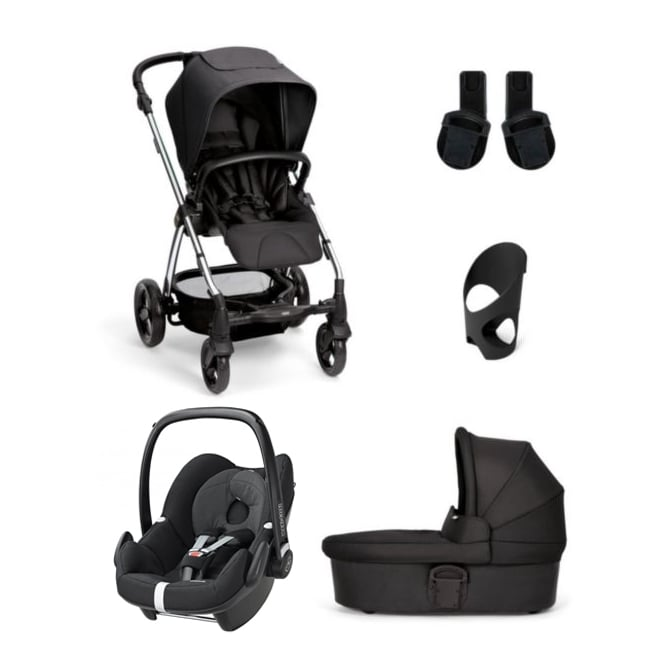 Mamas & Papas Sola2 - 5 Piece - Carrycot + Pebble Carseat + Cup Holder + Adaptors