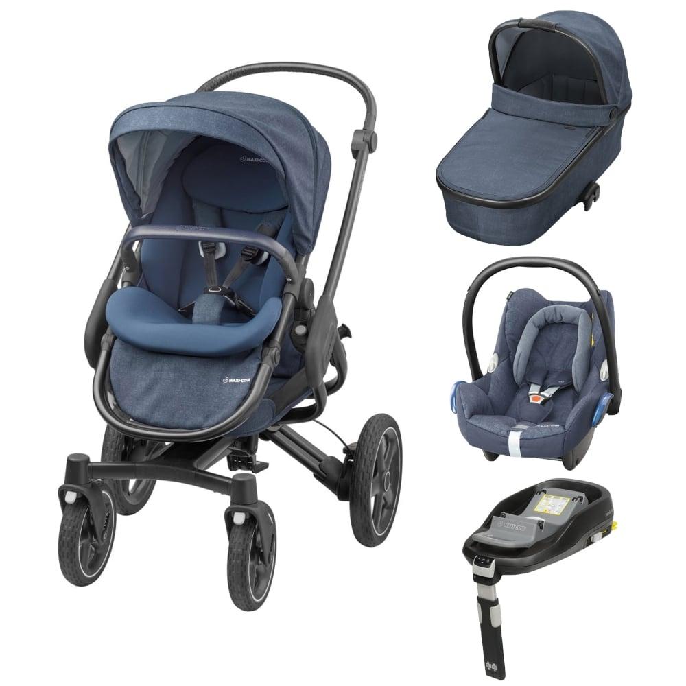 maxi cosi nova 4 wheel 3in1 cabriofix familyfix base nomad blue prams pushchairs from. Black Bedroom Furniture Sets. Home Design Ideas