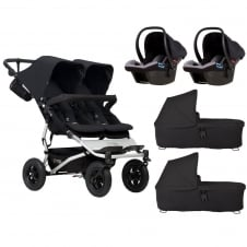 Duet + 2 Carrycots & 2 Protect Car Seats - Black