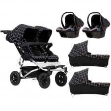 Duet + 2 Carrycots & 2 Protect Car Seats - Grid