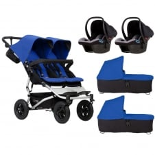 Duet + 2 Carrycots & 2 Protect Car Seats - Marine