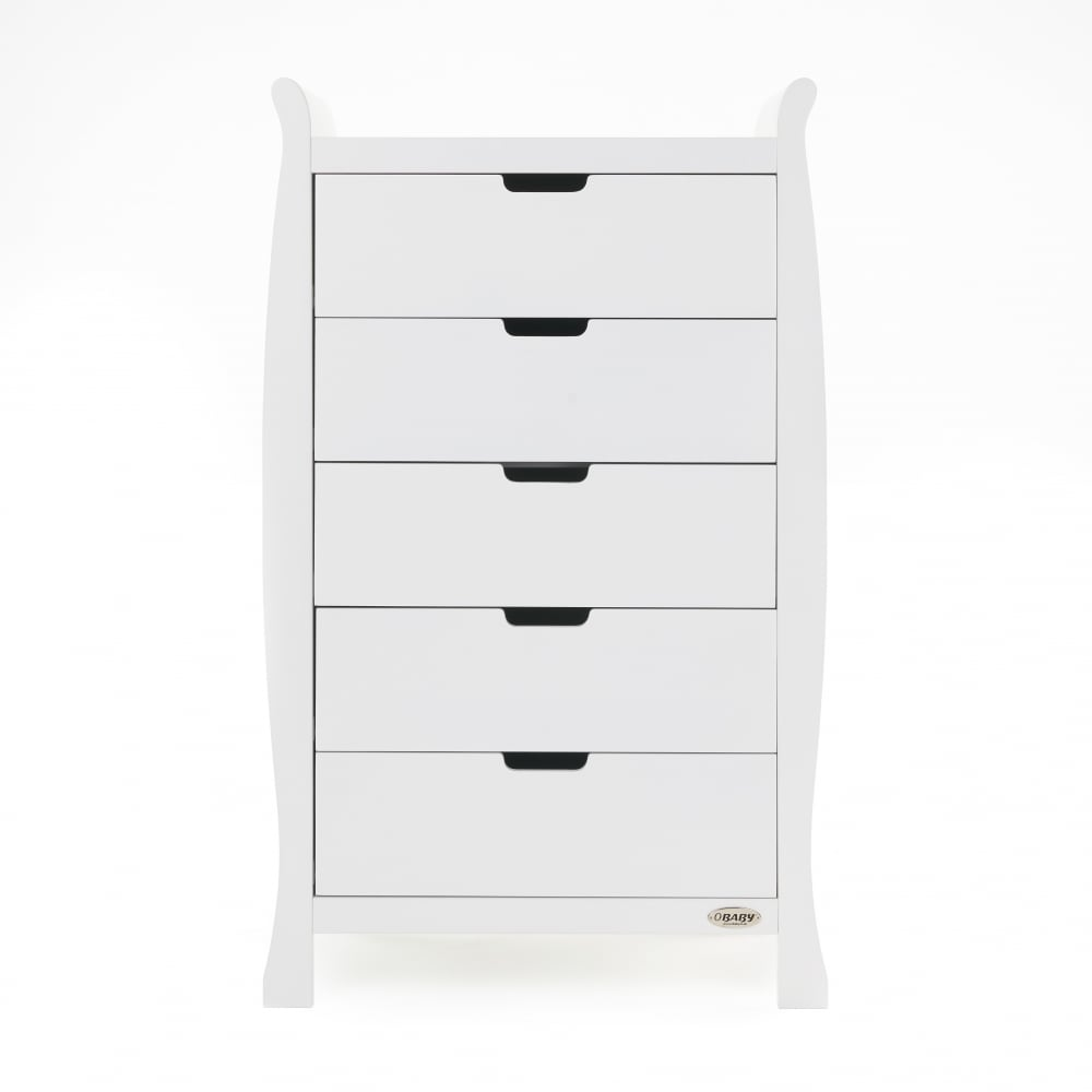 27df4bcd13d6 Obaby Stamford Sleigh Tall Chest of Drawers - White - Cots, Cot Beds ...