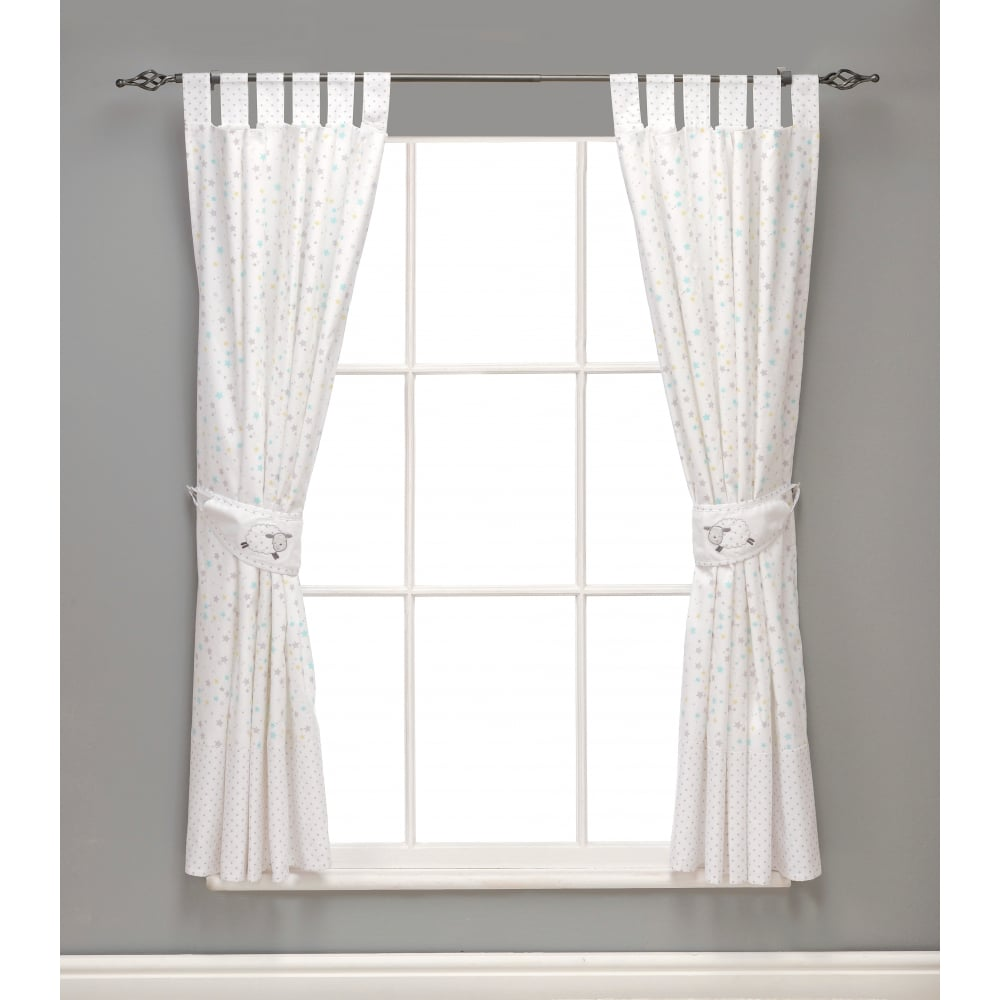 SilverCloud Counting Sheep Lined Curtains & Tie Backs