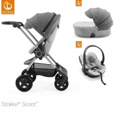 Scoot™ Grey Melange + Carrycot + iZi Go Modular Car Seat - Black Melange