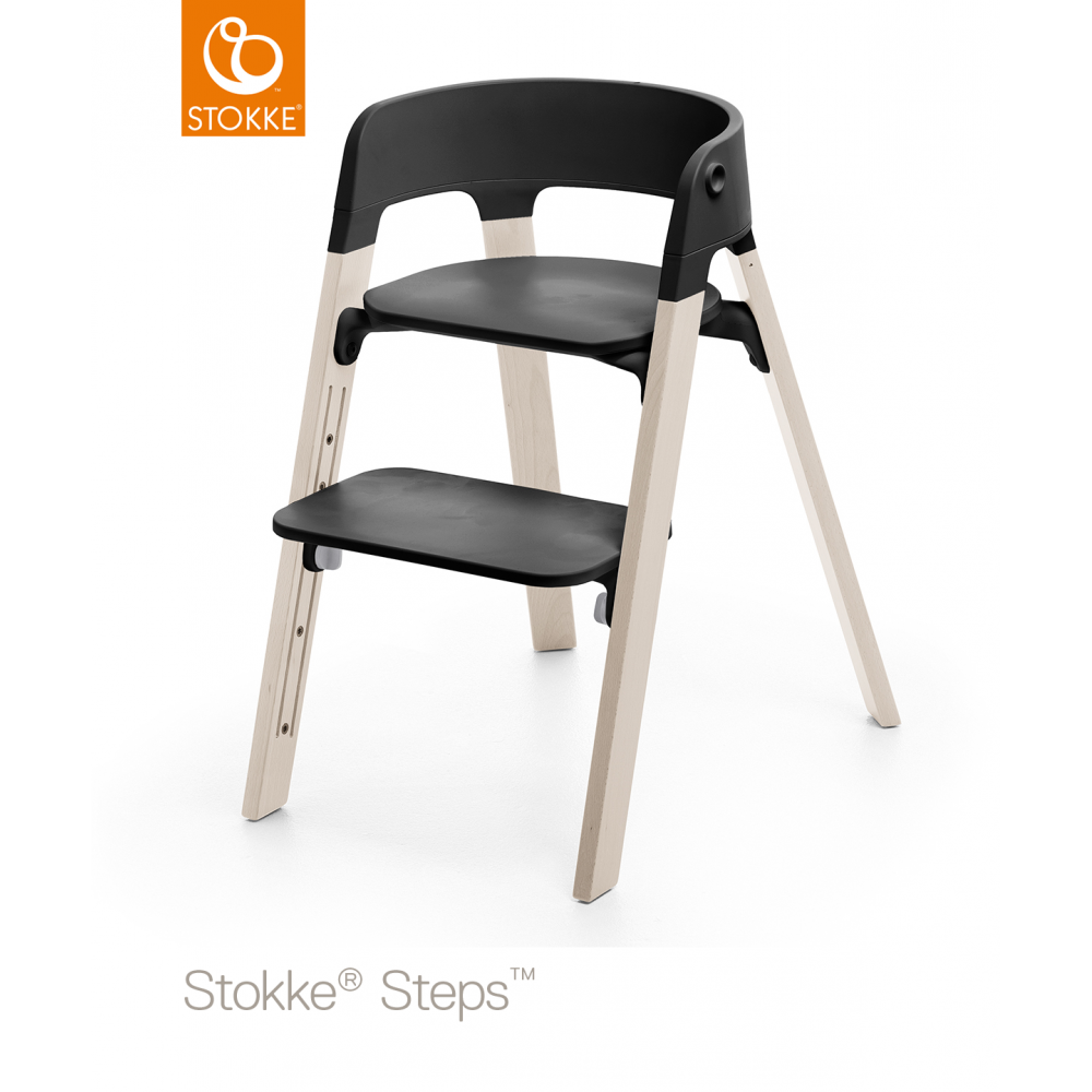 Beau Steps Chair   Black Seat   White Wash Legs