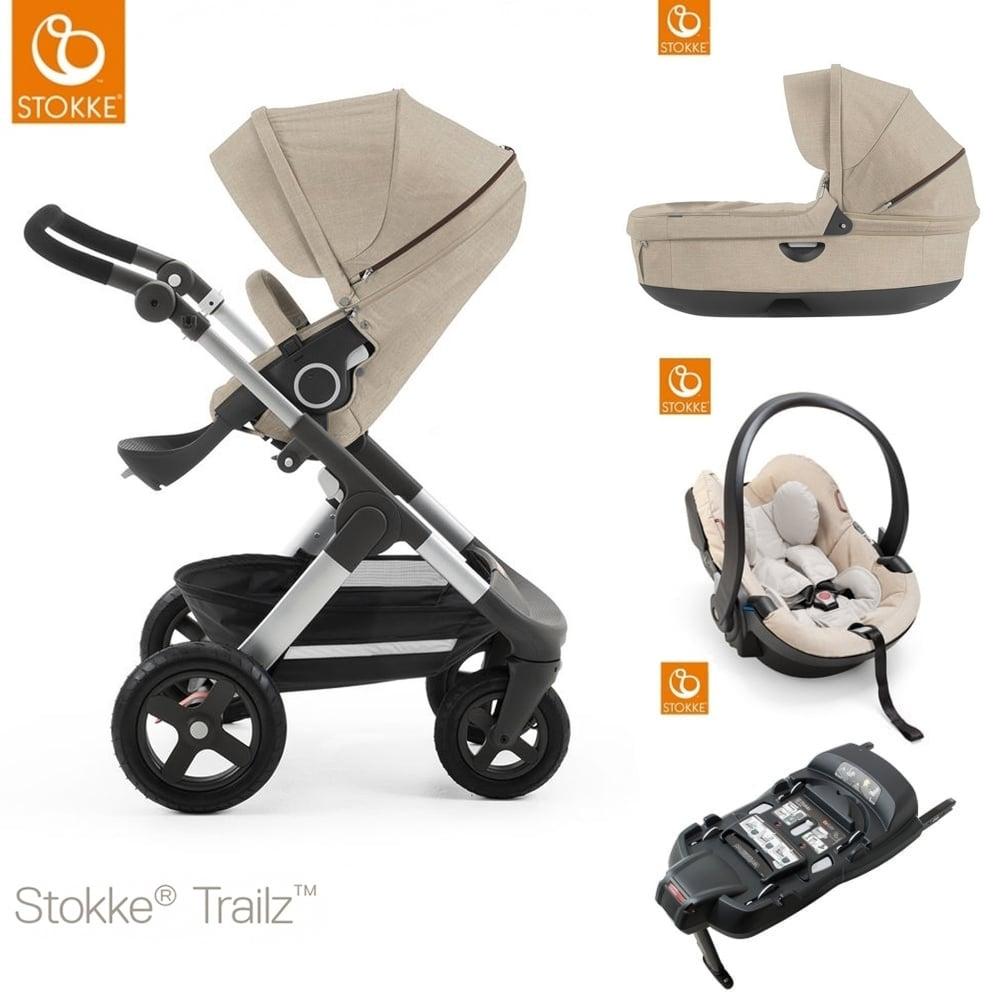 stokke trailz terrain carrycot izi go modular car seat isofix base beige melange. Black Bedroom Furniture Sets. Home Design Ideas