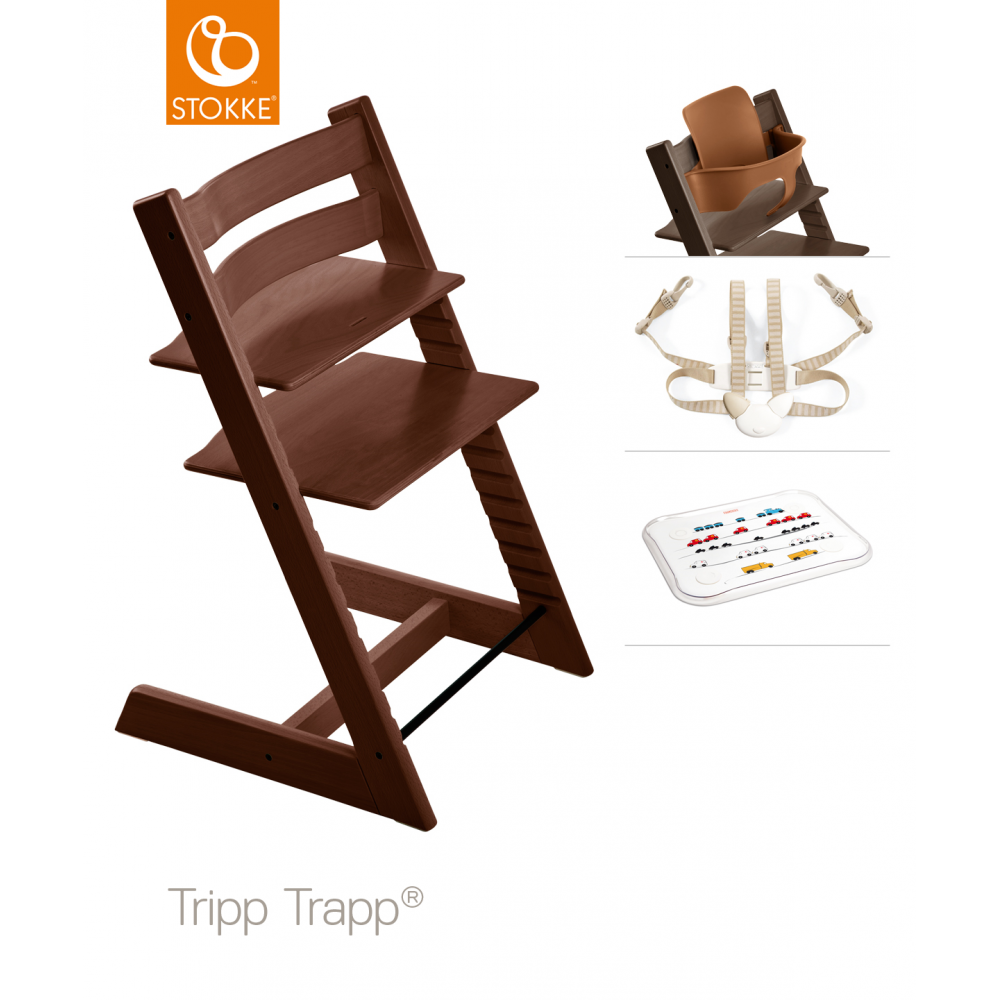 Stokke® Stokke Tripp Trapp + Accessory Set & Table Top - Walnut ...