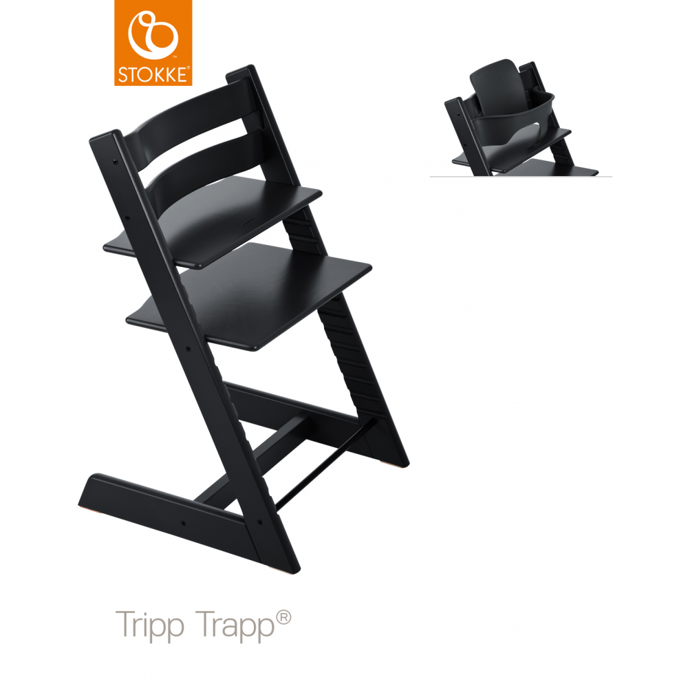 Incredible Stokke Tripp Trapp Baby Set Black Caraccident5 Cool Chair Designs And Ideas Caraccident5Info