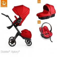 Xplory V5 Black + Carrycot & Car Seat - Red