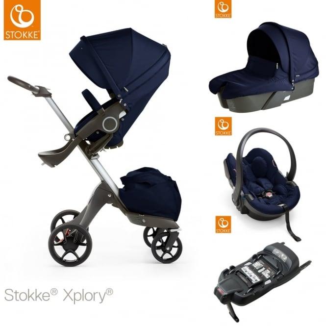 stokke xplory v5 carrycot izi go modular car seat isofix base deep blue prams. Black Bedroom Furniture Sets. Home Design Ideas