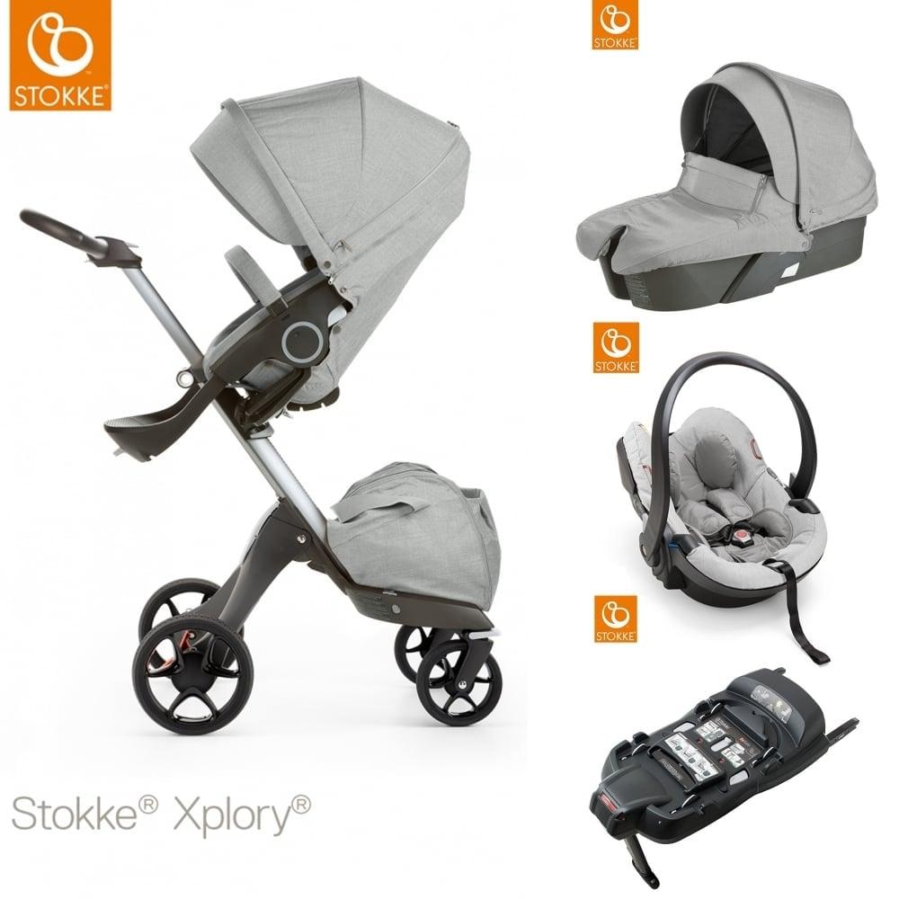 stokke xplory v5 carrycot izi go modular car seat isofix base grey melange prams. Black Bedroom Furniture Sets. Home Design Ideas