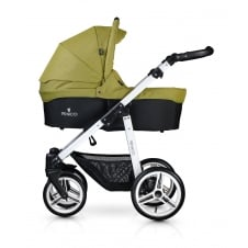 Soft Travel System - White Chassis / Denim Green